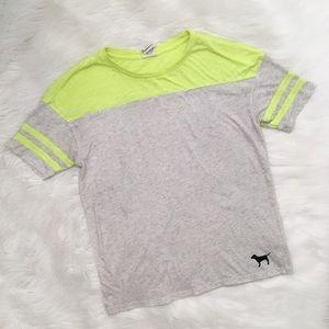 PINK Victoria's Secret Neon Yellow Grey Tee Shirt
